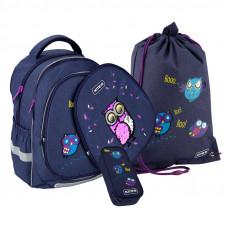 Набор рюкзак + пенал = сумка для обуви в ПОДАРОК Kite 700(2p) Owls